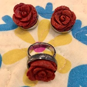 Nordstrom Silver Real Coral Rose Earrings & Ring